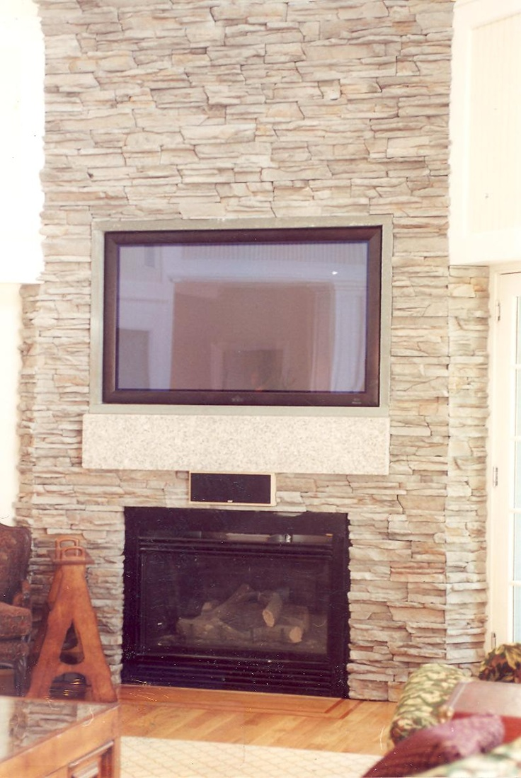 Custom Stone Fireplace TV Wall S D M Custom Finish Carpentry Pin