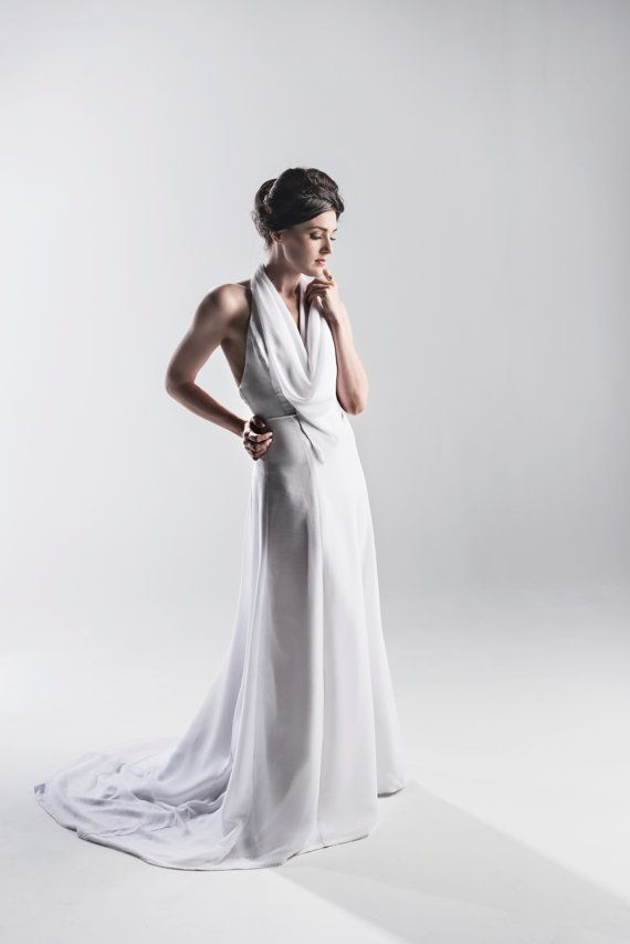 1920s inspired halter wedding dress in white or ivory couture weddi