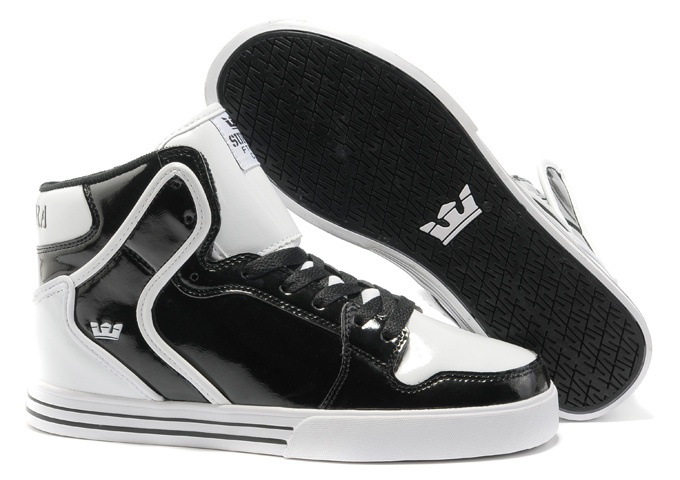 Supra Vaider Black Leather White Skate Shoes On Sale