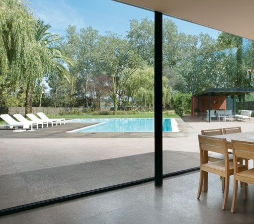 Matching outdoor space to indoor space creates a sleek, modern transition.