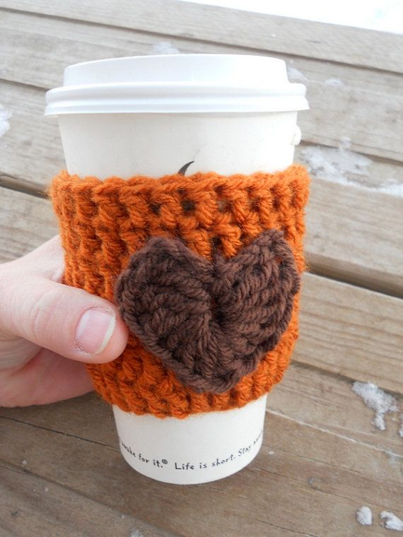 Crochet coffee cozy sleeve sweater with heart decoration in pumpking ...