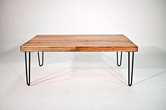 Reclaimed Boxcar Floor Coffee Table With Hairpin Legs