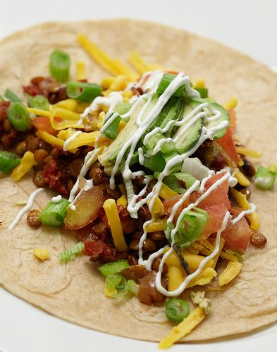 The Chubby Vegetarian's Lentil Tacos... I love lentils and how ...