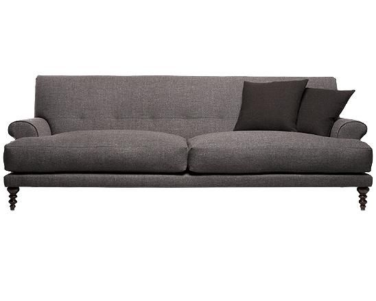 Gray Low Profile Sofa With Turned Legs Gray Sofa Pinterest