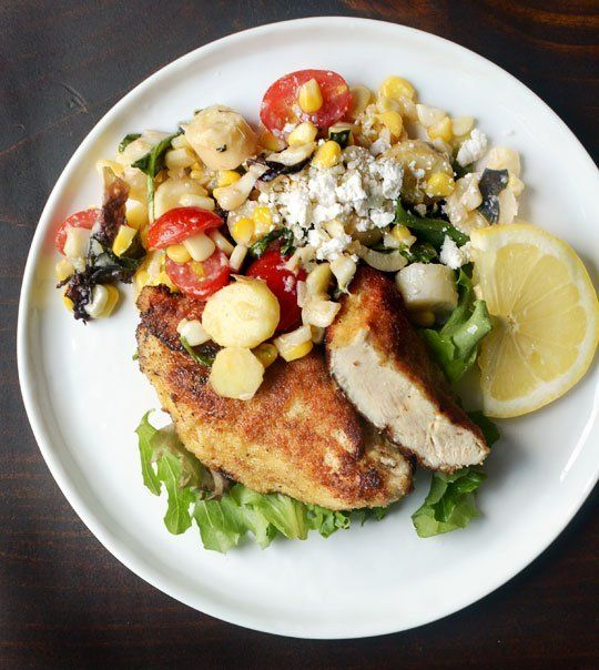 Recipe: Pan-Fried Chicken Breasts with Corn & Tomato Summer Salad ...