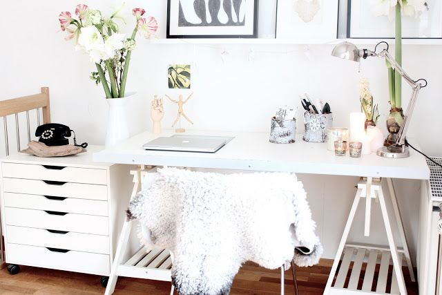 Bright white office.