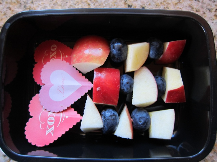 Cute idea for Valentine's Day lunchbox - hearts on fruit skewers