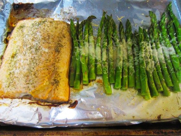 Baked Salmon and Parmesan Asparagus | Puppies in the Kitchen