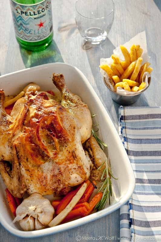 Slow Roasted Grappa Garlic and Lemon Pepper Chicken with Parsnip Fries