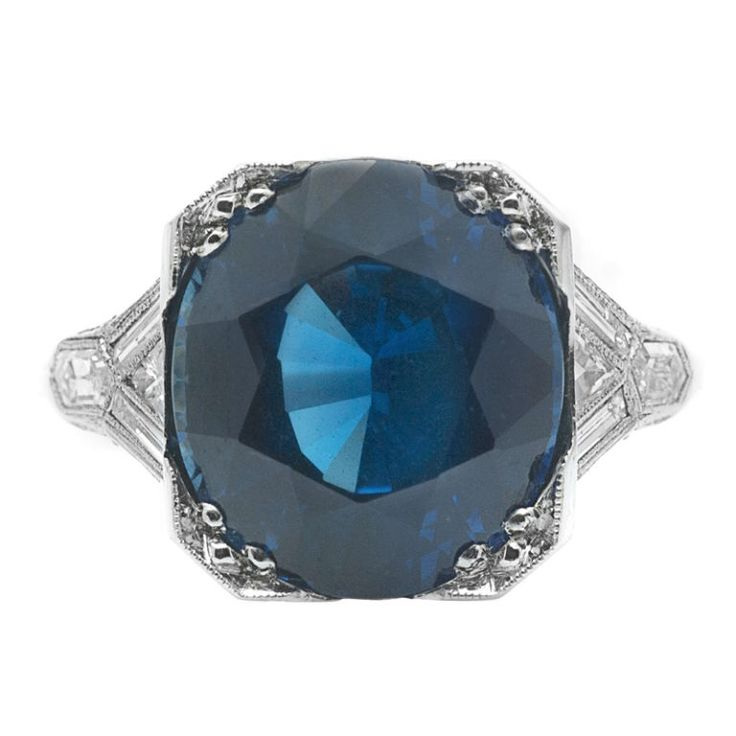 Art Deco natural sapphire, diamond, and platinum ring, c. 1930.