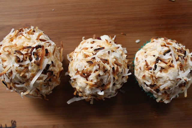 banana cupcakes with peanut brittle buttercream - minus the coconut (obv) i love these!