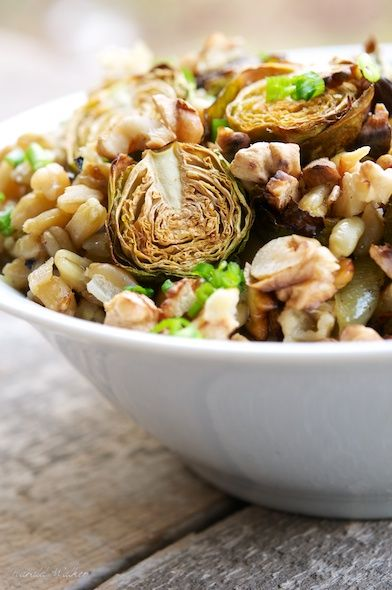 Lemony wheat berries with roasted Brussels sprouts // vegalicious ...