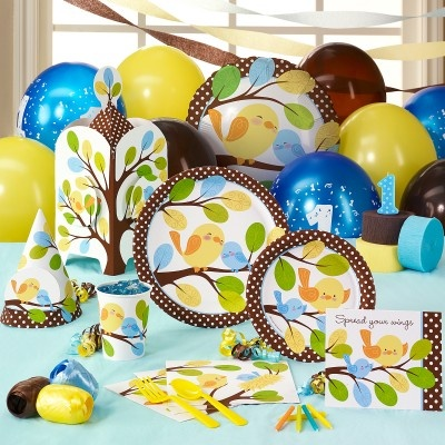 Sweet Tweet Bird Blue – 1st Birthday Classic Party Pack for 8; Includes 8 invitations, dinner plates, dessert plates, cups, forks, spoons, napkins (50 pack), solid-color tablecover and cake candles.