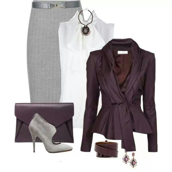 Purple, long pencil skirt