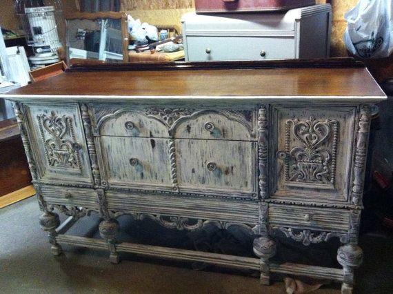 antique white distressed shabby chic buffet furniture. Black Bedroom Furniture Sets. Home Design Ideas