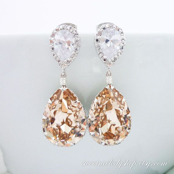 Champagne bridal earrings wedding jewelry bridesmaid gift for Jewelry for champagne wedding dress