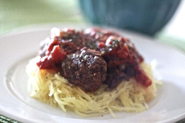 ... meatballs over spaghetti squash with an easy semi-homemade sauce
