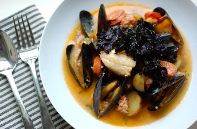 Portuguese Seafood Stew with Sablefish and Purple Kale