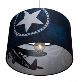 Silhouette lamp shade with airplanes in blue by Little Dutch