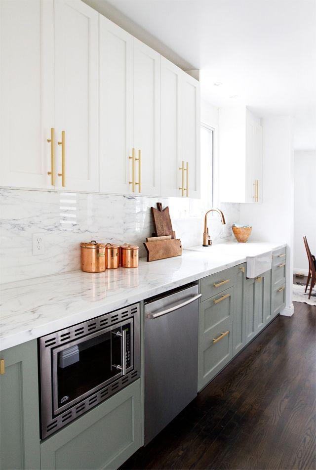 , brass hardware, khaki green cabinets  great modern kitchen design