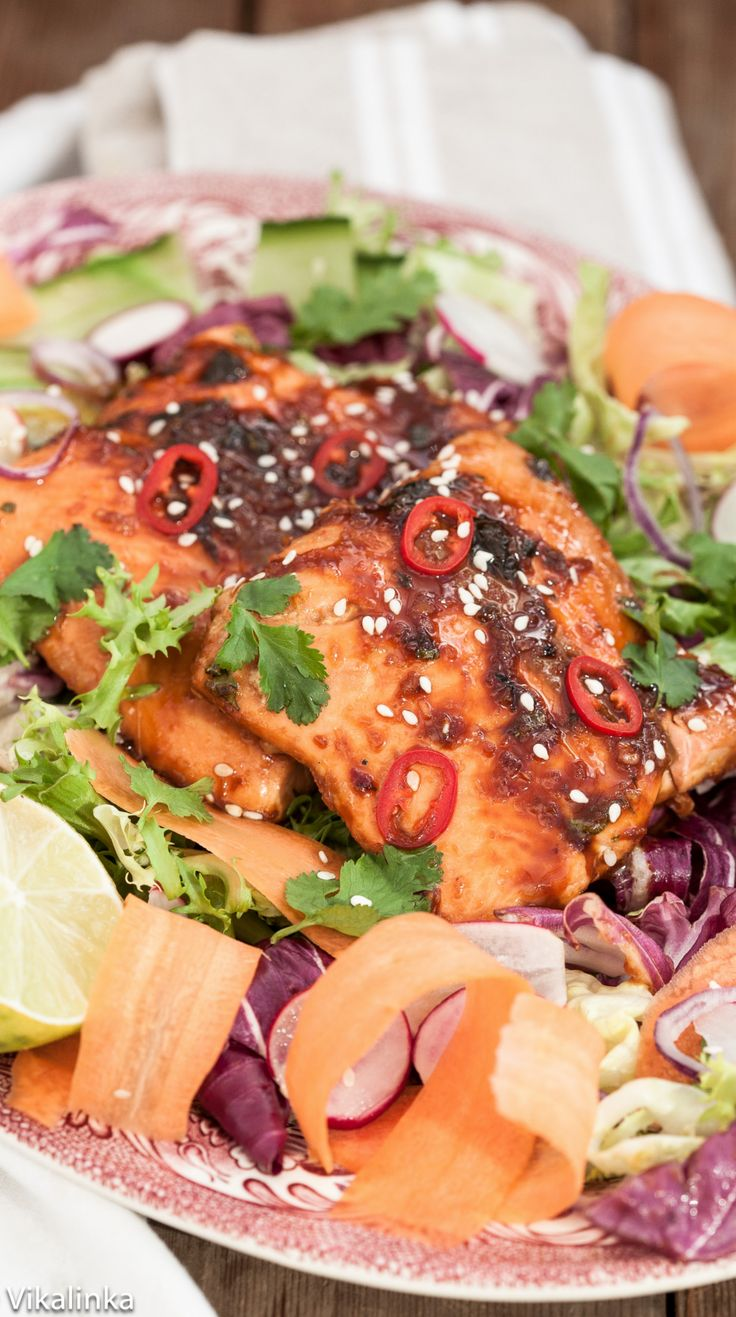 Ginger and Soy glazed salmon on top of your favourite salad greens ...