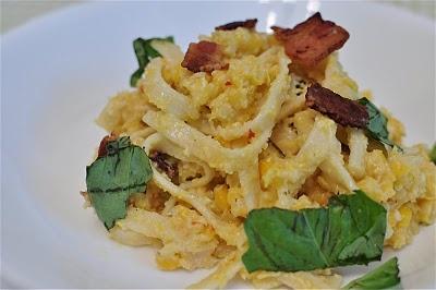 Pasta with Corn Pesto & Bacon | Savory Food | Pinterest