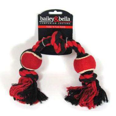 Bailey amp bella plaid christmas rope toy 2 ball christmas xmas