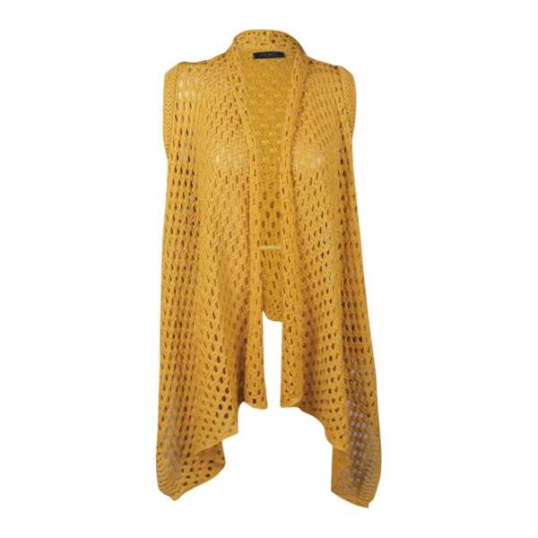 Knitting Pattern Long Sleeveless Cardigan : Ladies knitted sleeveless crochet open cardigan shrug ...