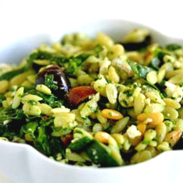 ... orzo salad http://www.simplyrecipes.com/recipes/spinach_and_orzo_salad