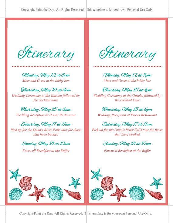 beach wedding itinerary template wedding planner coral teal seash