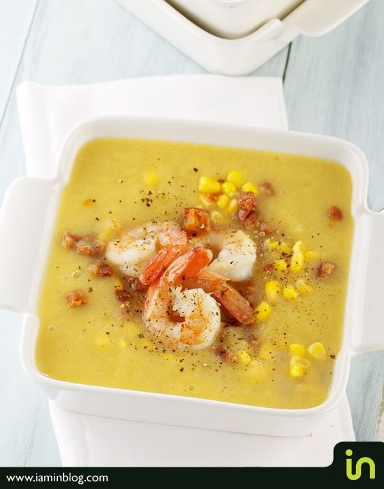 Chilled summer corn soup with shrimp and chorizo Photo: Vadim Daniel