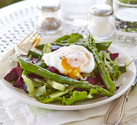 salad with a runny poached egg. A simple, balanced bistro-style salad ...