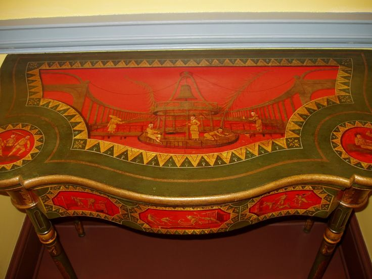 Detail of Card Table Baltimore, c. 1815 Maker: Thomas S. Renshaw (active in Baltimore 1810-1816) Painter: John Barnhart (active in Baltimore 1814-1829)Wood with polychrome and gilt decoration