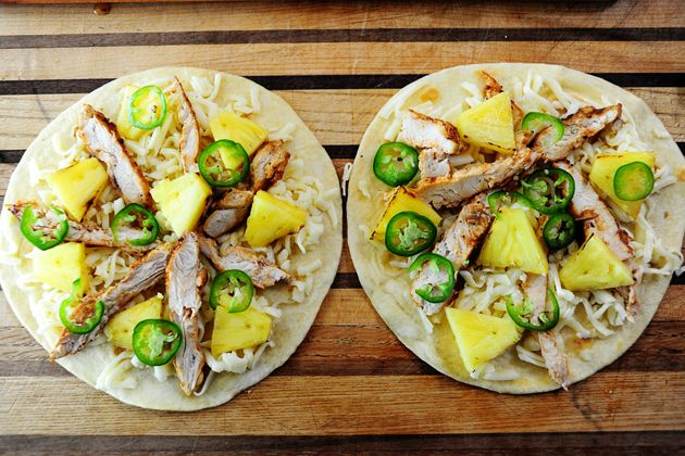 Grilled Chicken & Pineapple Quesadillas... usually I don't care about...