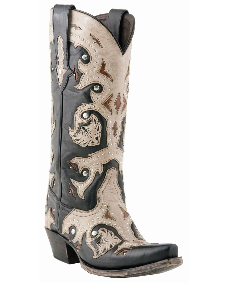 Gorgeous!  Lucchese Women's Studded Scarlet Black and Natural Inlay Boot
