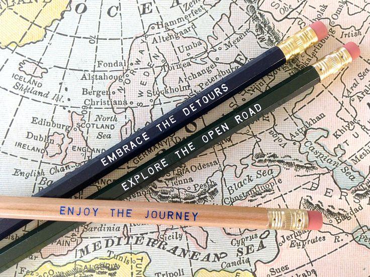 12 Road Trip Series Pencils. Let's Explore... $13.00, via Etsy.