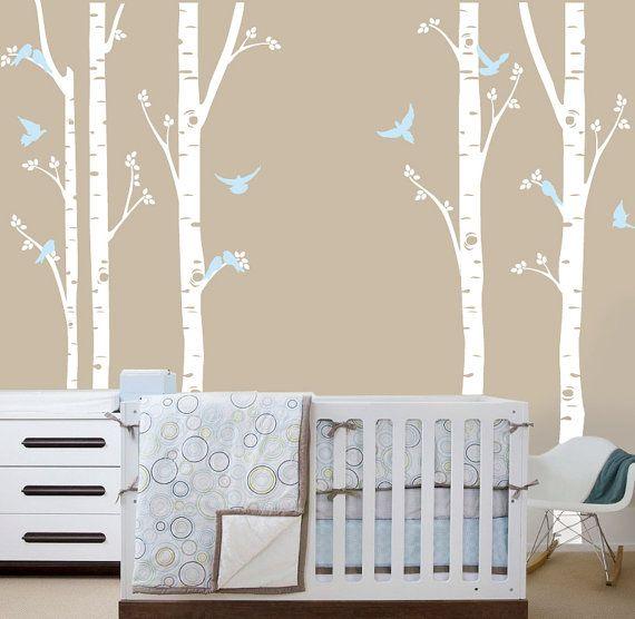 Birch tree decal woodland nursery pinterest for Birch tree mural nursery