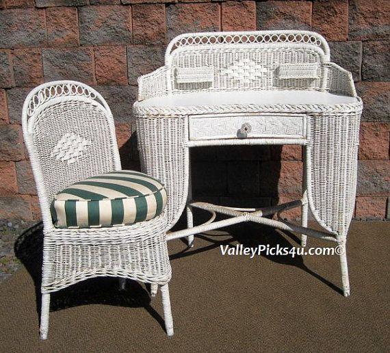 Shabby white chic vintage wicker desk amp chair antique by picks4u 675