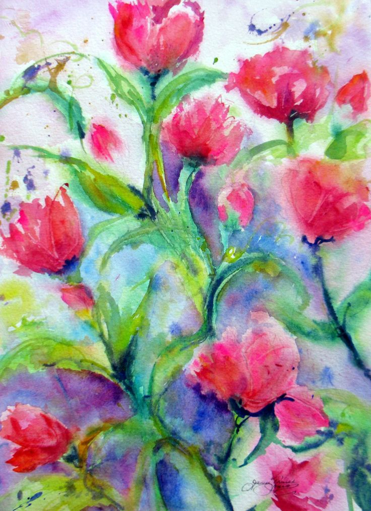 Reserved for calypso24 abstract flower tulips watercolor for Abstract watercolour flowers