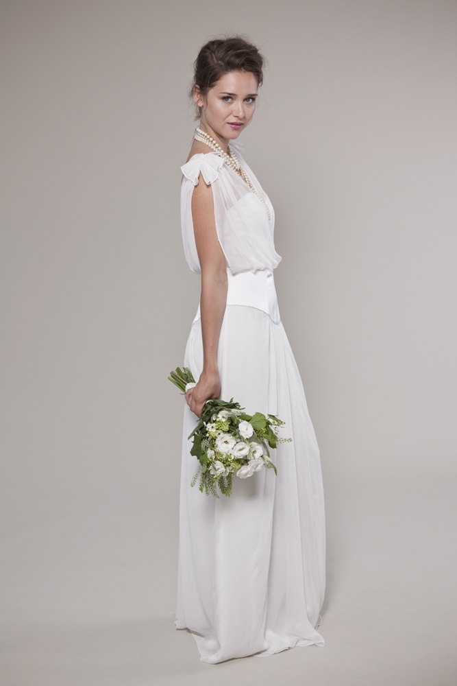 1920 39 s inspired wedding dress v neck chiffon top not entire dress