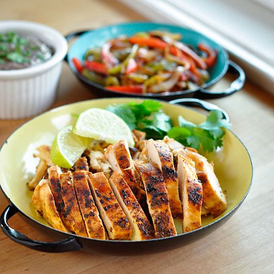 Chicken Fajitas w/ black bean spread