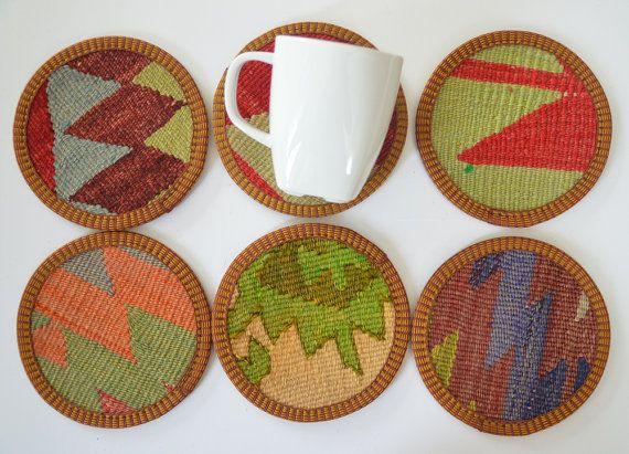 Sukan Hand Woven Turkish Antique Kilim Cups Coasters 6 Pcs Via | Bed Mattress Sale