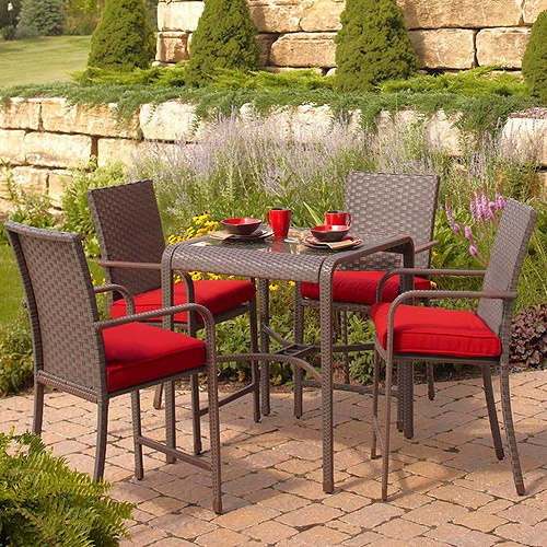 rushreed 5 gathering height patio dining set seats 4