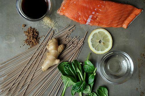 Hot Smoked Salmon, Soba and Asian Greens Salad | Recipe