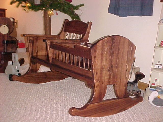 Rocking Chair With Attached Doll Cradle Scaled Down Copy Of Adult Size Versi