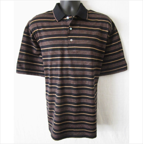 Ben hogan mens large cotton black brown red striped short sleeve polo