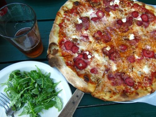 Strawberry pizza with tomato sauce, mozzarella, Salumi coppa, organic ...