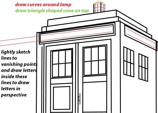 Step step 1037 How to Draw TARDIS from Doctor Who with Easy Two Point    How To Draw The Tardis Easy