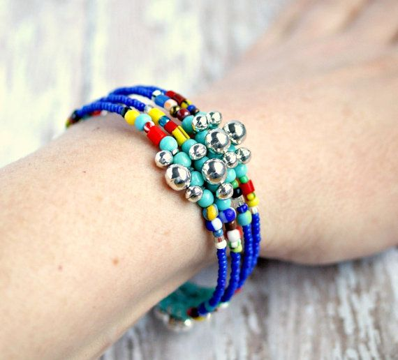 Hippie rainbow bracelet silver charms and by pixiestrinkets 12 00