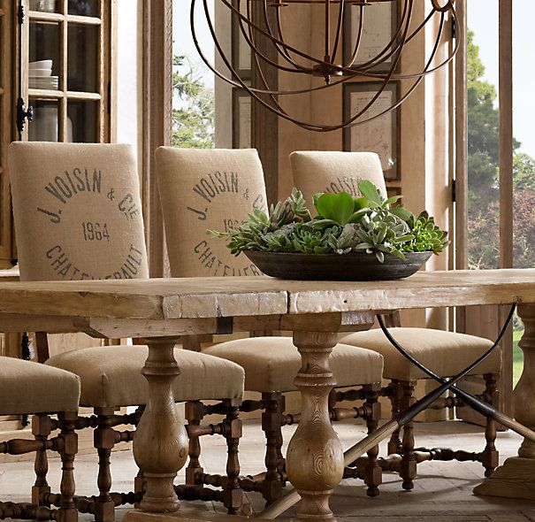 Rustic country dining chairs printed burlap covers for Rustic country dining sets